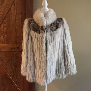 Genuine Natural Blue Fox Fur Coat Jacket